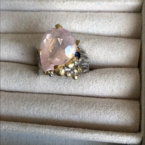 Jewelry - 10k Natural Rose Quartz & Sapphire Sterling Ring